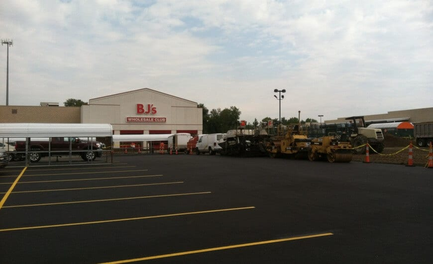 BJs parking lot after re-pavement and striping
