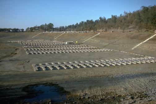 Boat slips in Folsom Lake in a drought (1976).  The reservoir was at 18 percent of capacity on Tuesday (Jan. 7, 2013). Source: California Department of Water Resources