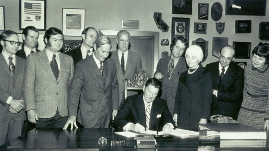 Governor Reagan signs the CA Wild and Scenic Rivers Act