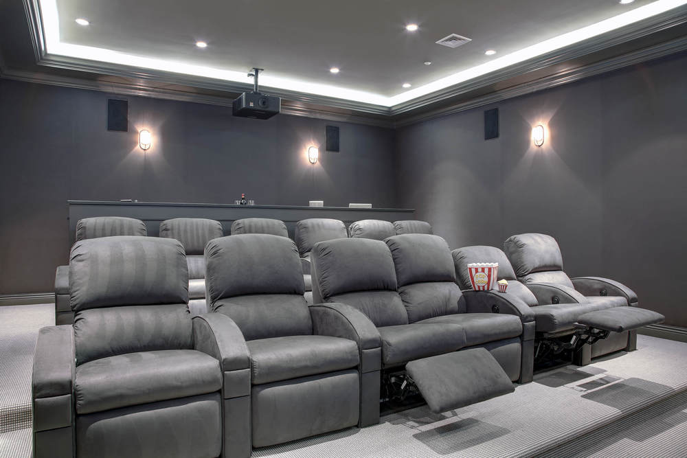 Westchester County home theater with computer workstation and a Savant integrated control system