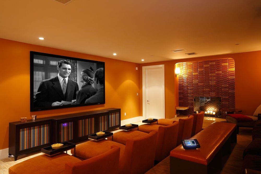home theater with a touchpad control panel