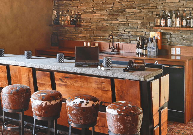 Home bar with a laptop